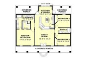 Southern Style House Plan - 3 Beds 2 Baths 1640 Sq/Ft Plan #44-168 Floor Plan - Main Floor