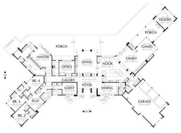 House Plan Design - Ranch style, Craftsman detailed house plan, main level floor plan