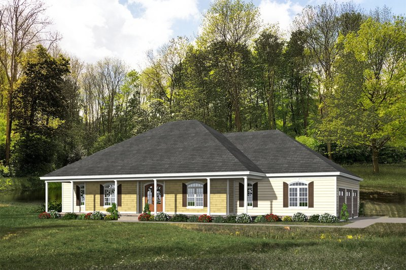 Country Exterior - Front Elevation Plan #932-23