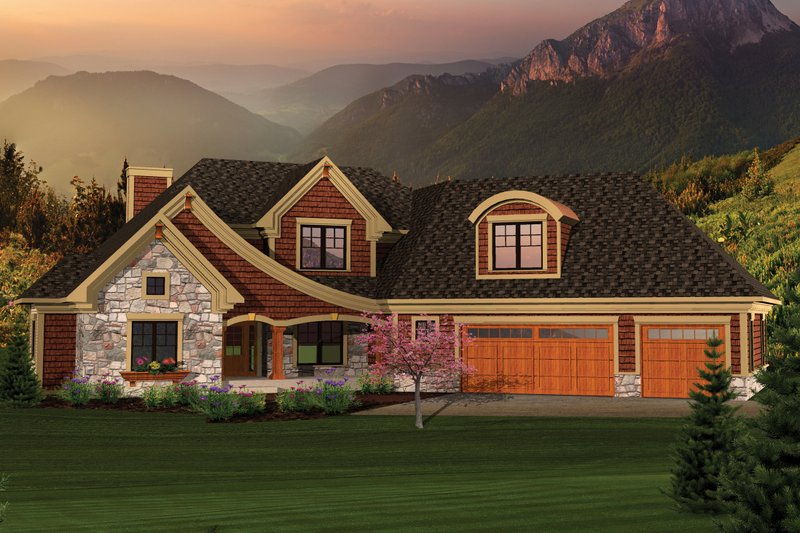 Craftsman Exterior - Front Elevation Plan #70-1059
