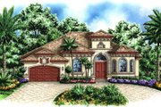 Mediterranean Style House Plan - 4 Beds 3 Baths 2727 Sq/Ft Plan #27-416 Exterior - Front Elevation