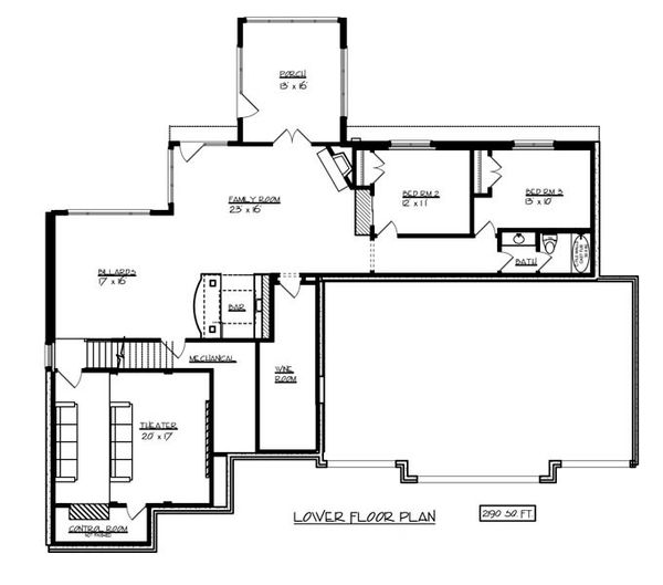 European Floor Plan - Lower Floor Plan Plan #320-501