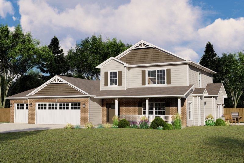 Country Style House Plan - 3 Beds 2.5 Baths 2209 Sq/Ft Plan #1064-73 Exterior - Front Elevation