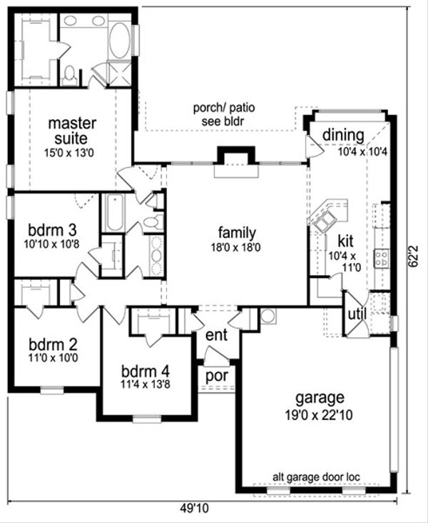 Traditional Floor Plan - Main Floor Plan Plan #84-560