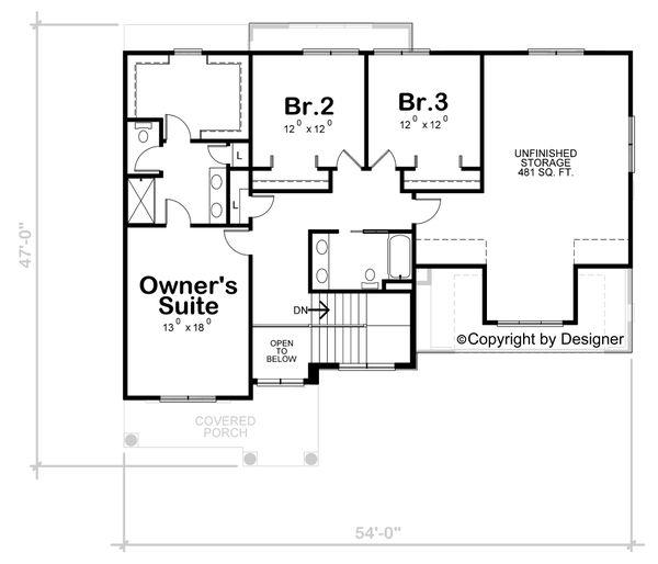 Architectural House Design - Classical Floor Plan - Upper Floor Plan #20-2434