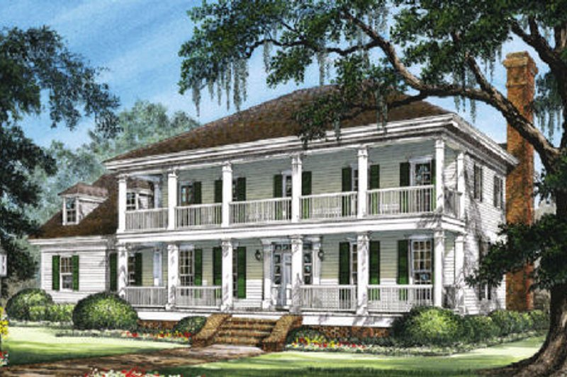 Southern Exterior - Front Elevation Plan #137-114 - Houseplans.com