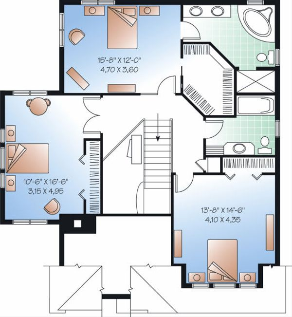 European Floor Plan - Upper Floor Plan Plan #23-860
