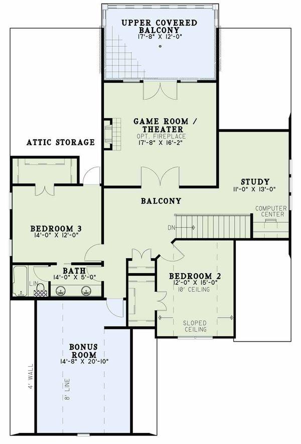 European Floor Plan - Upper Floor Plan Plan #17-2597