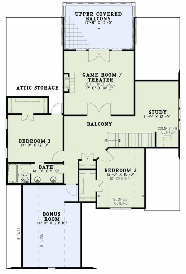 European Floor Plan - Upper Floor Plan Plan #17-2597