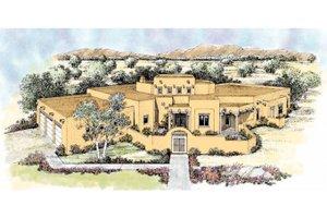 Adobe / Southwestern Exterior - Front Elevation Plan #72-172