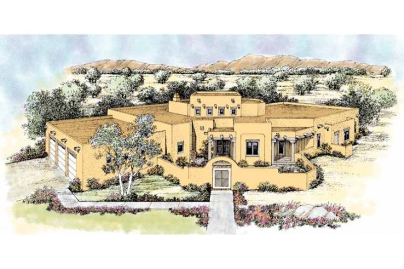 Adobe / Southwestern Exterior - Front Elevation Plan #72-172