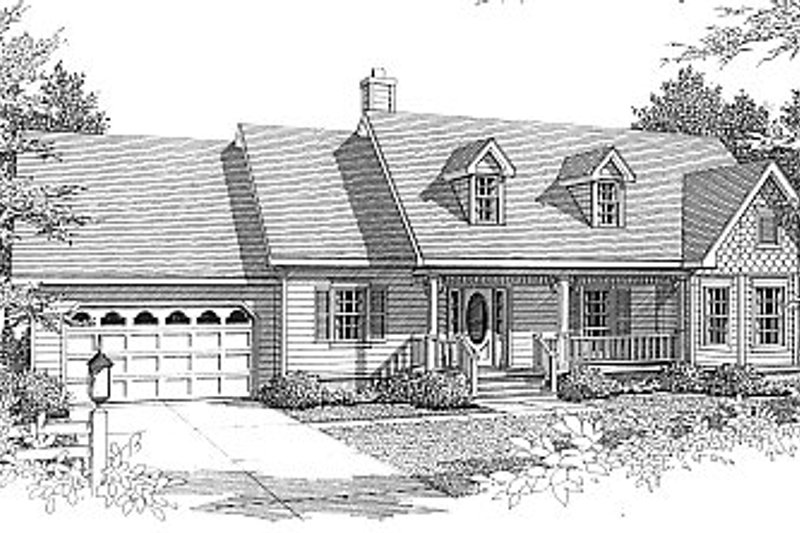 European Style House Plan - 3 Beds 2 Baths 1917 Sq/Ft Plan #14-114 Exterior - Front Elevation