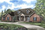 Southern Style House Plan - 4 Beds 3.5 Baths 4243 Sq/Ft Plan #17-230 Exterior - Front Elevation