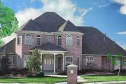European Style House Plan - 4 Beds 3.5 Baths 3723 Sq/Ft Plan #52-161 Exterior - Front Elevation