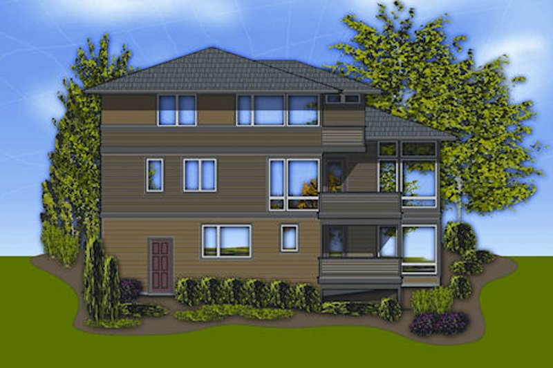 Modern Exterior - Rear Elevation Plan #48-247 - Houseplans.com