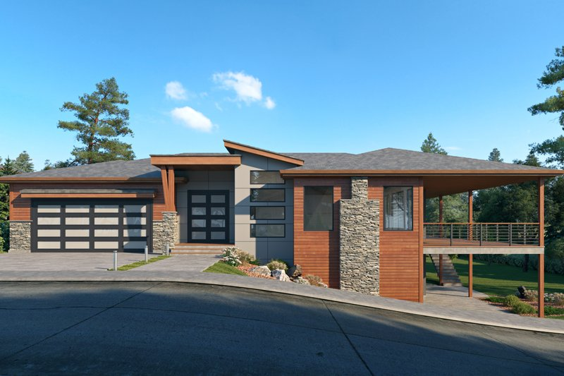 Home Plan - Contemporary Exterior - Front Elevation Plan #1066-123