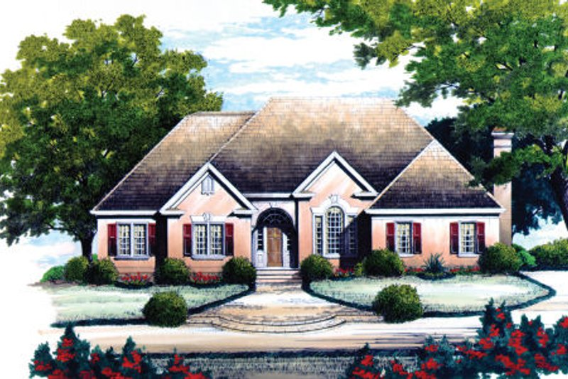 European Style House Plan - 3 Beds 2.5 Baths 2295 Sq/Ft Plan #429-18 Exterior - Front Elevation