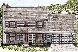Colonial Exterior - Front Elevation Plan #405-136
