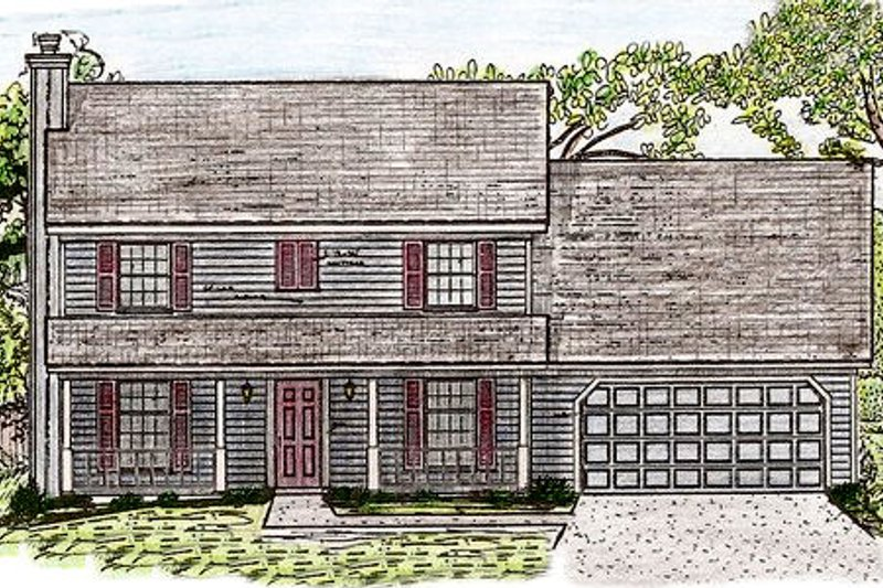 Colonial Style House Plan - 4 Beds 2.5 Baths 2128 Sq/Ft Plan #405-136 Exterior - Front Elevation