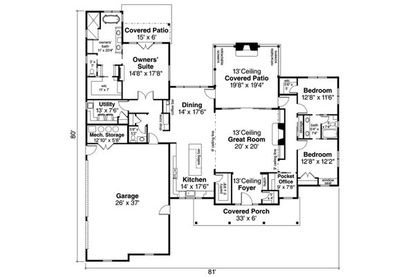 Ranch Floor Plan - Main Floor Plan Plan #124-1105