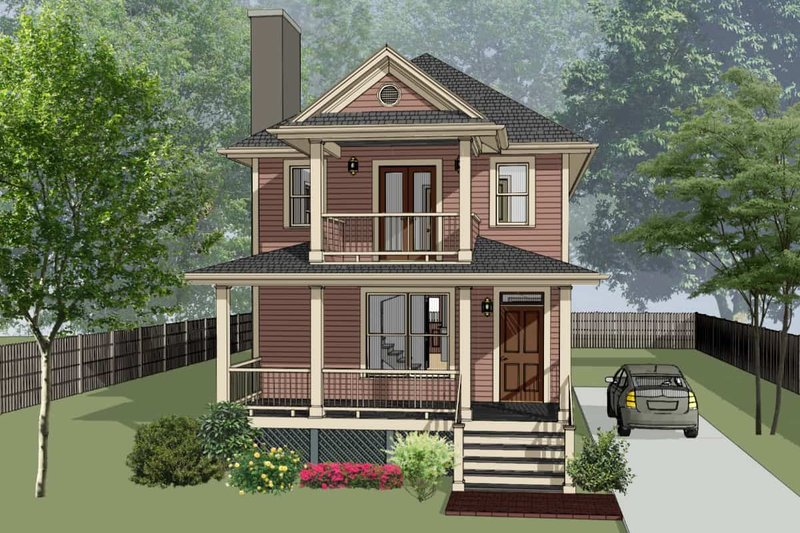 Southern Exterior - Front Elevation Plan #79-227