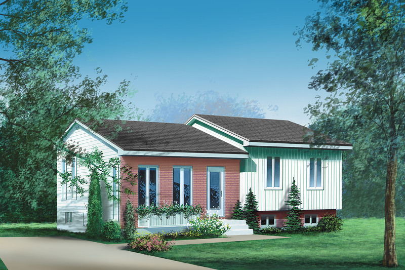 Ranch Style House Plan - 2 Beds 1 Baths 934 Sq/Ft Plan #25-1123 Exterior - Front Elevation