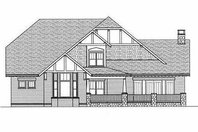 Craftsman Exterior - Rear Elevation Plan #413-106 - Houseplans.com