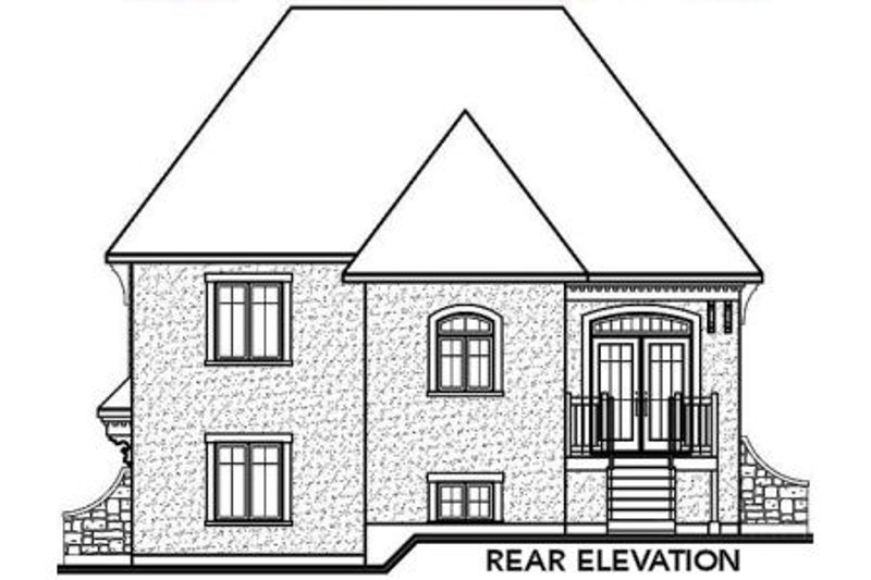 European Exterior - Rear Elevation Plan #23-572 - Houseplans.com