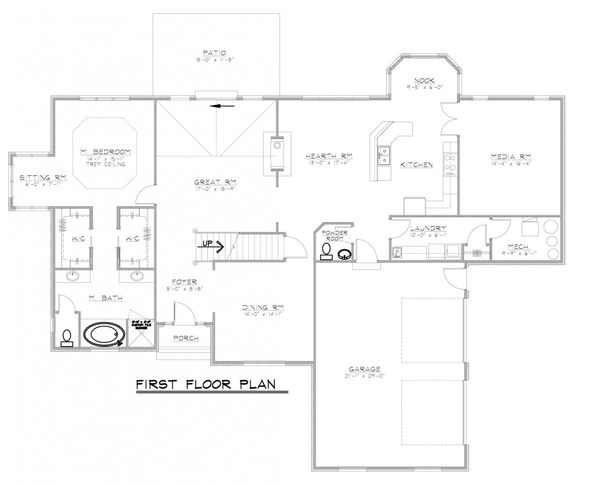 European Floor Plan - Main Floor Plan Plan #1064-2