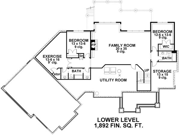 Craftsman Floor Plan - Lower Floor Plan Plan #51-334