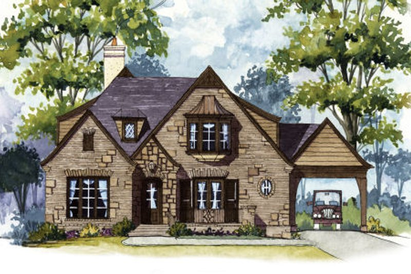 European Style House Plan - 4 Beds 4 Baths 4415 Sq/Ft Plan #429-44 Exterior - Front Elevation