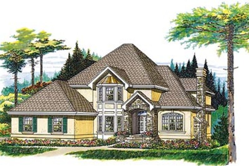 European Style House Plan - 4 Beds 3 Baths 2719 Sq/Ft Plan #47-355 Exterior - Front Elevation