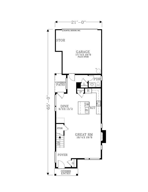 Contemporary Floor Plan - Main Floor Plan Plan #53-614
