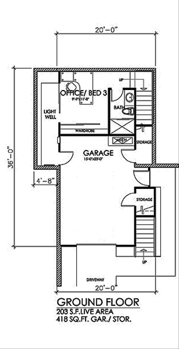 Contemporary Floor Plan - Lower Floor Plan Plan #484-14