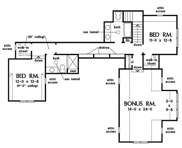Farmhouse Floor Plan - Upper Floor Plan Plan #929-1111