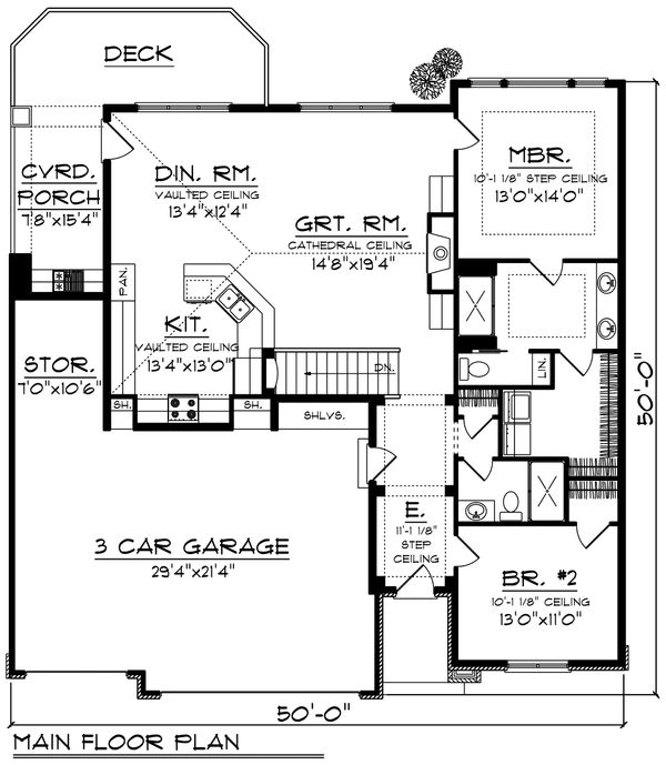 Ranch Floor Plan - Main Floor Plan Plan #70-1188