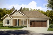 Ranch Style House Plan - 3 Beds 2 Baths 1605 Sq/Ft Plan #124-1026 Exterior - Front Elevation