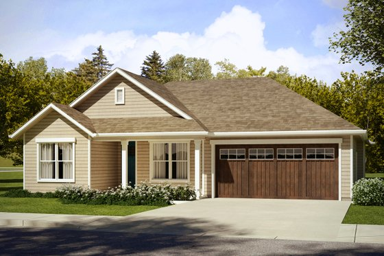 Ranch Exterior - Front Elevation Plan #124-1026