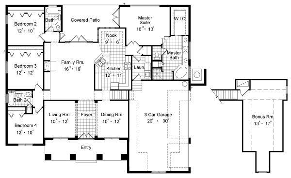 Mediterranean Floor Plan - Main Floor Plan #417-313