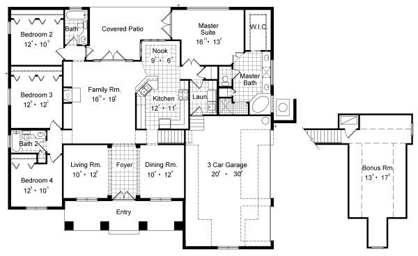 Mediterranean Floor Plan - Main Floor Plan Plan #417-313
