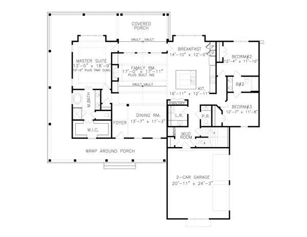 House Plan Design - Farmhouse Floor Plan - Main Floor Plan #54-392