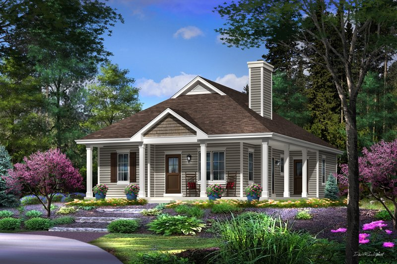 Cottage Style House Plan - 2 Beds 2 Baths 1158 Sq/Ft Plan #22-569