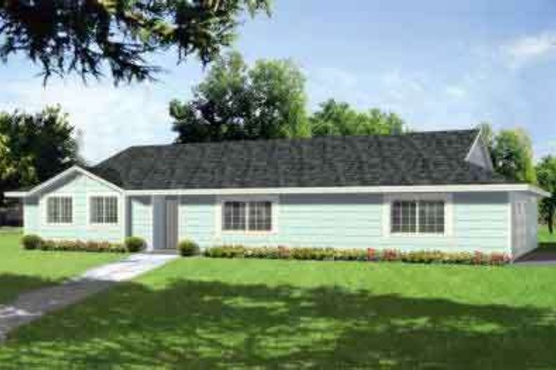 Ranch Style House Plan - 3 Beds 2 Baths 1892 Sq/Ft Plan #1-402 Exterior - Front Elevation