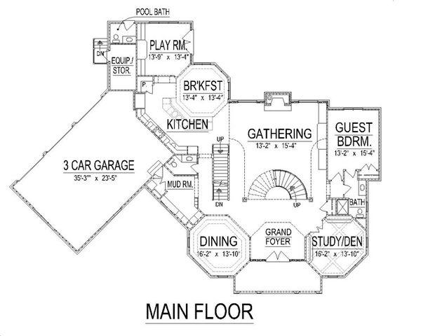 European Floor Plan - Main Floor Plan Plan #458-9