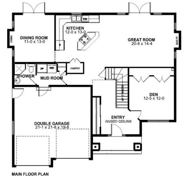 Craftsman Floor Plan - Main Floor Plan #126-158