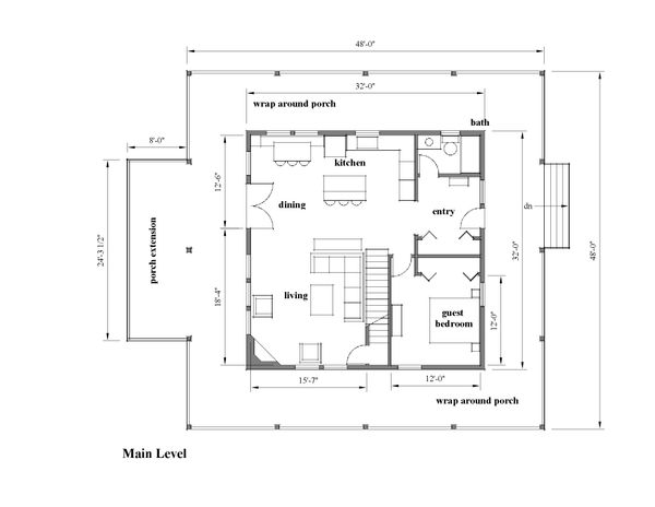 Southern Floor Plan - Main Floor Plan Plan #481-12