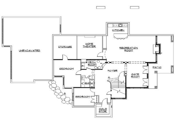 House Plan Design - Traditional Floor Plan - Lower Floor Plan #5-438