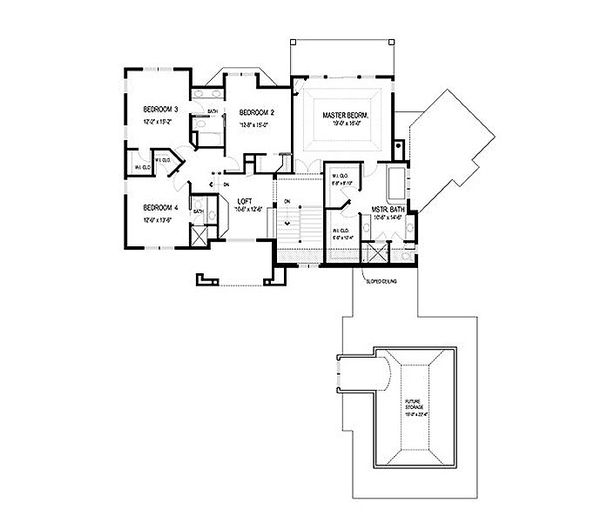 European Floor Plan - Upper Floor Plan Plan #56-593
