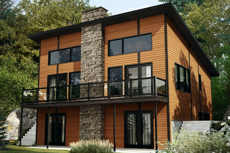 Contemporary Style House Plan - 3 Beds 2.5 Baths 1792 Sq/Ft Plan #23-2632 Exterior - Rear Elevation