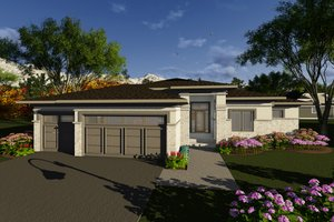 Prairie Exterior - Front Elevation Plan #70-1268